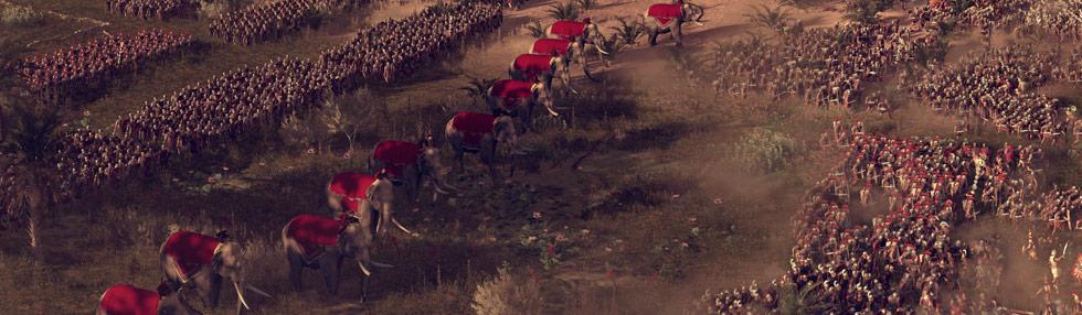 Elefantas y soldados en la Batalla del Nilo de Total War Rome II.