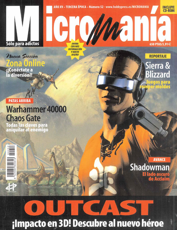 Outcast en las portada de Micromania en 1999