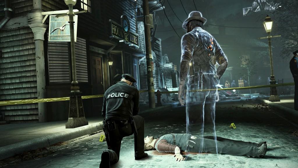 Murdered Soul Suspect con Ronan, el protagonista, viendo su escena del crimen.