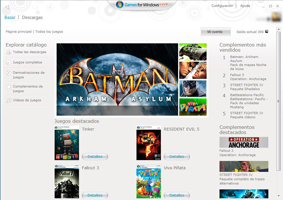 El market de Games for Windows Live para PC.