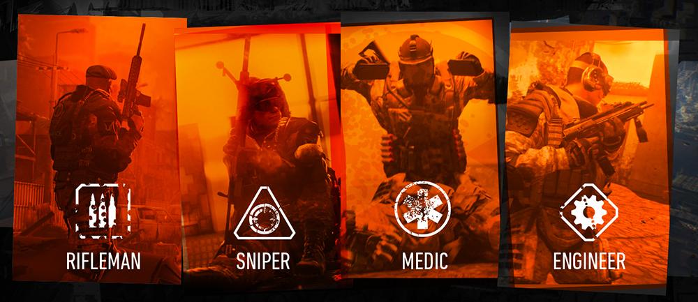 Las cuatro clases de soldados que hay en Warface.