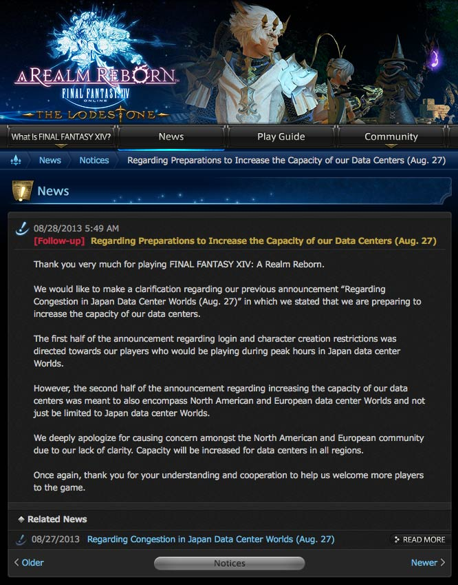 Final Fantasy XIV A Realm Reborn deja de venderse... por el momento.