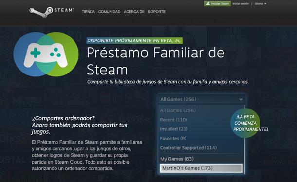 Préstamo familiar de Steam