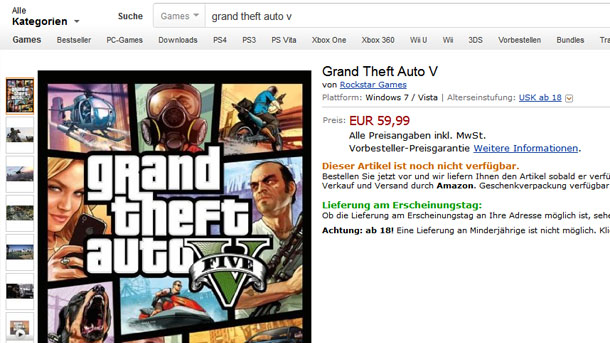 GTA V para PC anunciado en Amazon Alemania