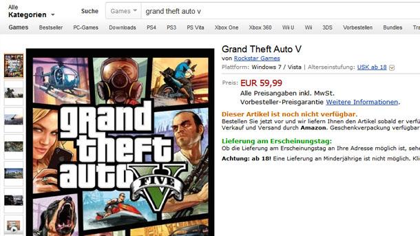 GTA V para PC anunciado en Amazon Alemania