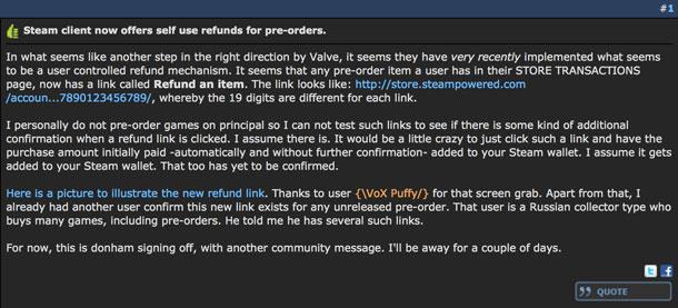 Steam ya permite el reembolso en la cancelación