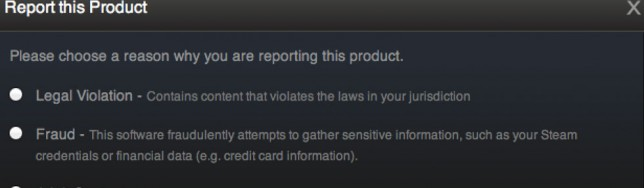 Denuncias en Steam