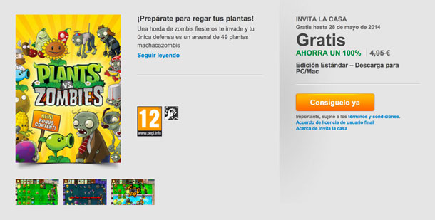 Invita la Casa: Plants vz Zombies gratis en Origin