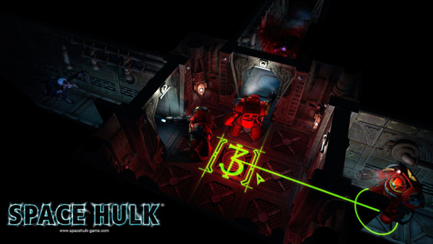 Vista en perspectiva del terreno de juego de Space Hulk.