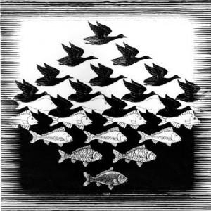 Sky and Water I  1938 Woodcut. - M.C. Escher