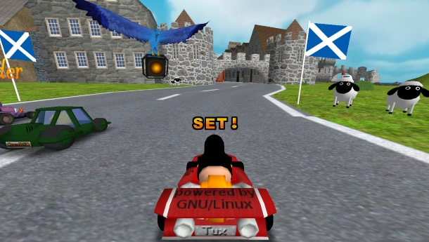 Super Tux Kart en Linux.