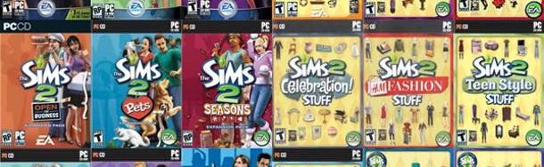 Todas las portadas de Los Sims 2.