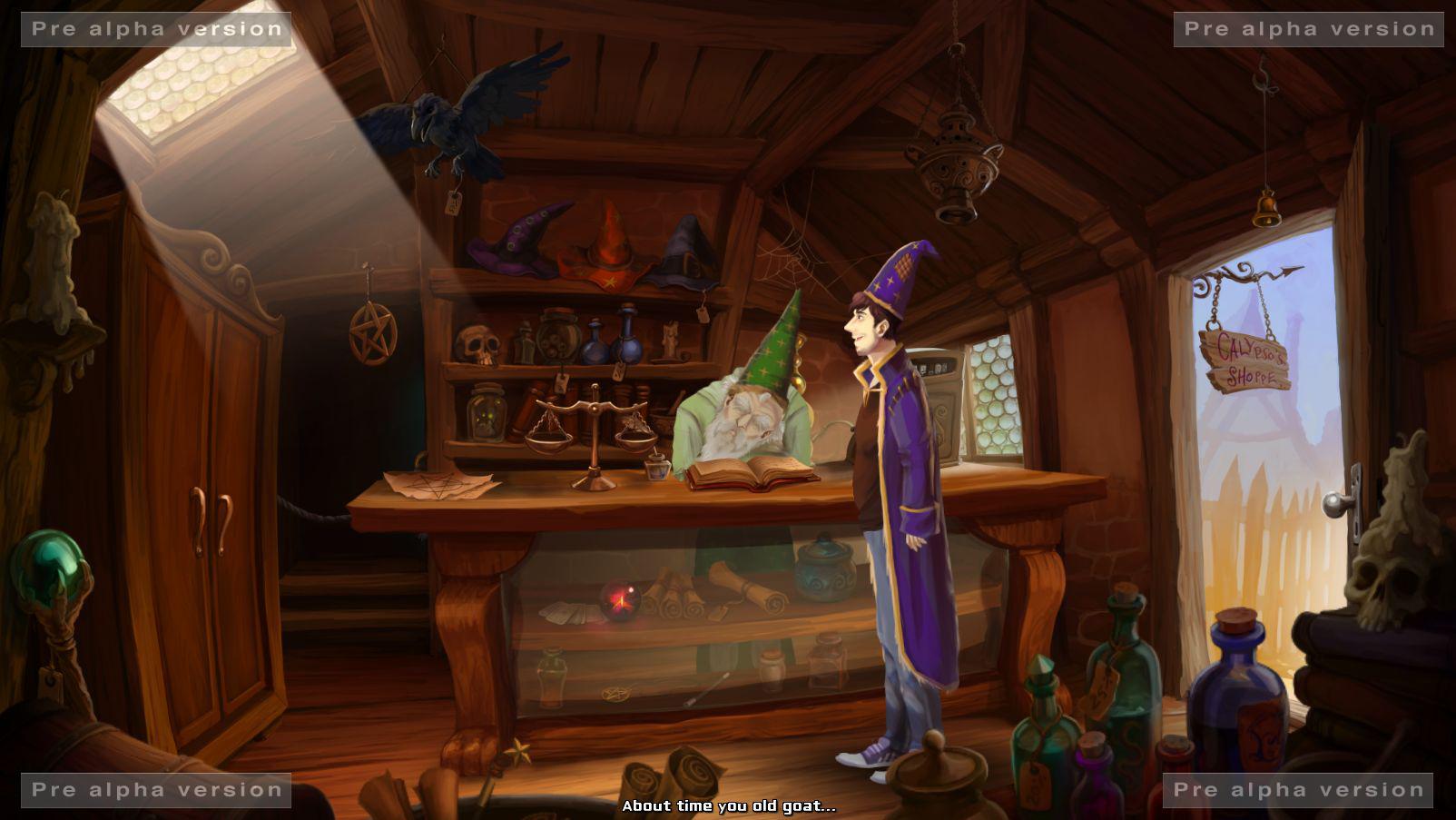 Simon the Sorcerer visita a su viejo amigo Calypso.