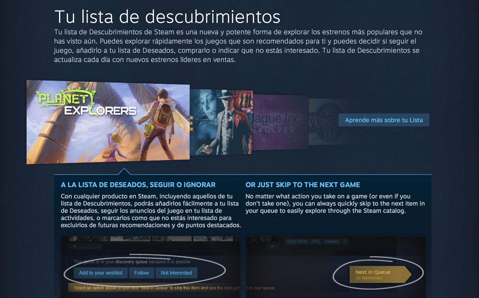Steam se personaliza para ti