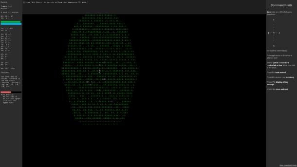 """El fabuloso aspecto ASCII de la edición """"renovada"""" de ADOM II en Java."""