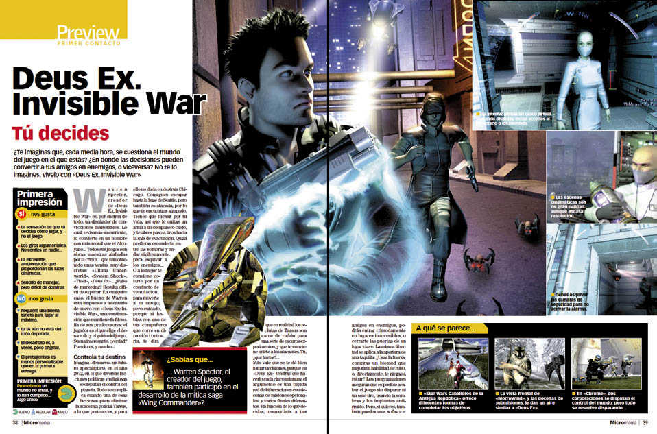 Deus Ex Invisible War - Preview MICROMANIA 109