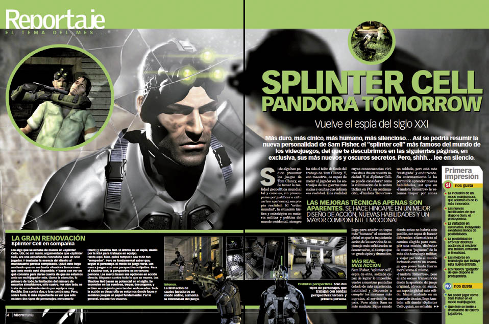 Splinter Cell Pandora Tomorrow - Reportaje MICROMANIA 109