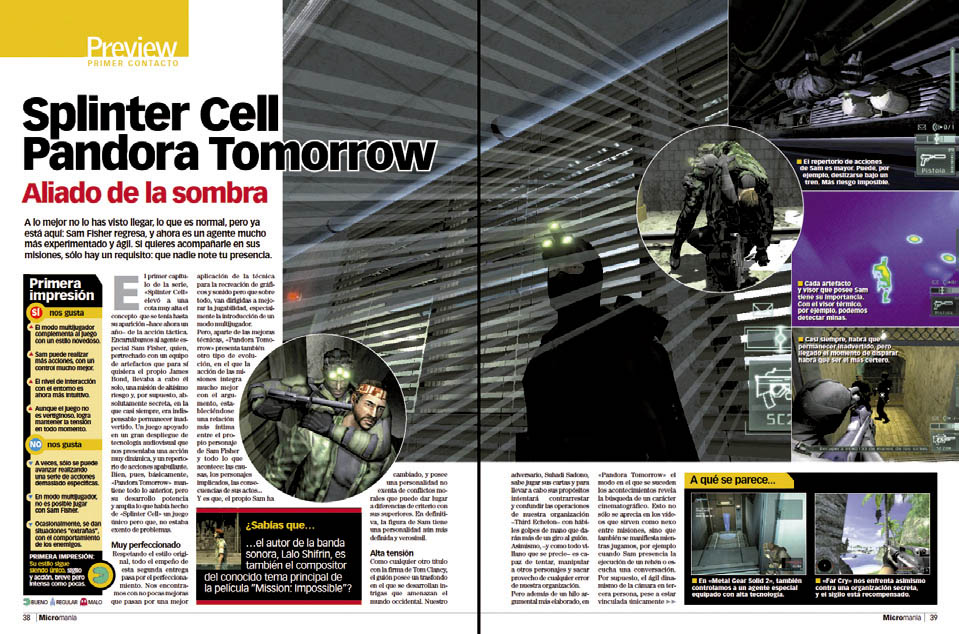 MICROMANIA 110 Preview - Splinter Cell Pandora Tomorrow