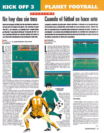 MICROMANIA 74 - Comparativa Kick Off 3 vs Planet Football