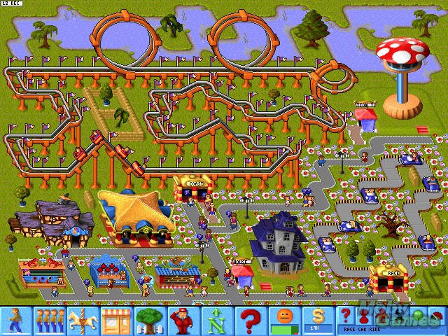 Theme Park - Bullfrog, EA - 3DO, Amiga, DOS, Genesis, Jaguar, Mac, PlayStation, SEGA CD y Saturn