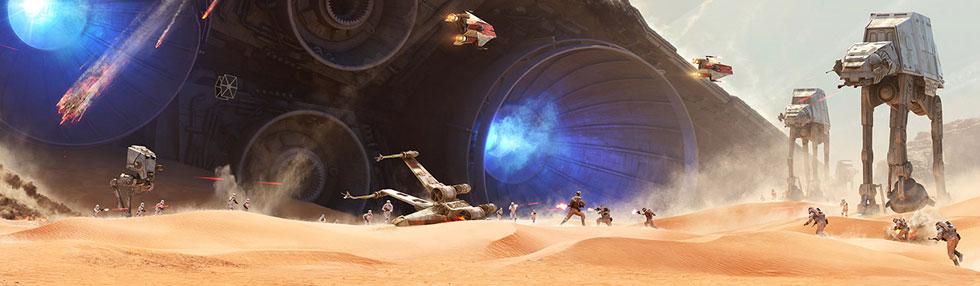 DICE y EA presentan los primeros bocetos artísticos de cómo será la espectacular batalla de Jakku en Star Wars Battlefront, que será un DLC gratuito.