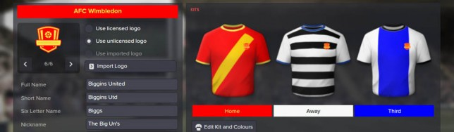 Football Manager 2016 uniformes