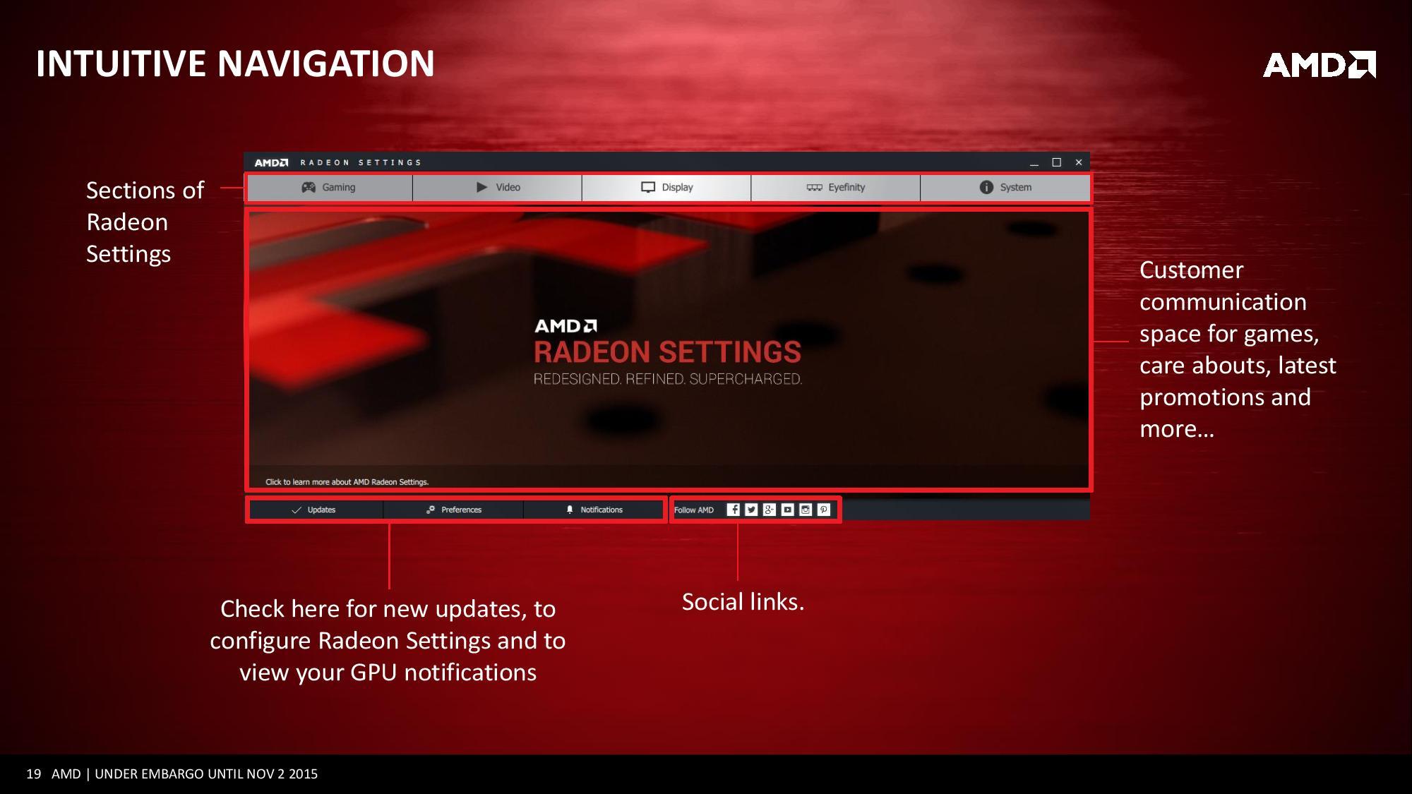 Este es el aspecto que tendrá, más o menos, Radeon Settings, la nueva aplicación para gestionar las tarjetas gráficas AMD.