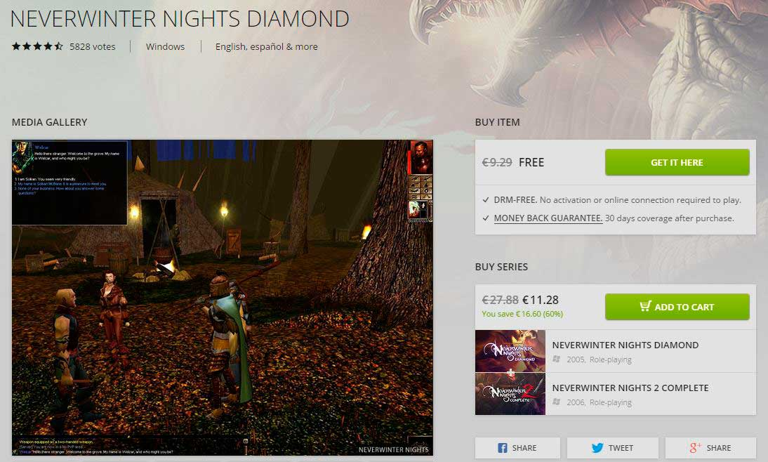 Neverwinter Nights rebajas de invierno de GOG