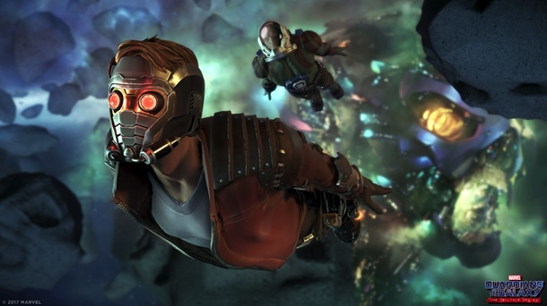 Capturas de Guardianes de la Galaxia con Star-Lord en acción.