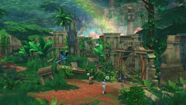 Explora templos perdidos en Los Sims 4 Aventura en la Selva.