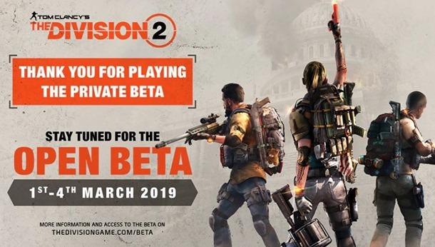 Beta abierta de The Division 2 anunciada para marzo.